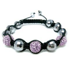 Disco Ball & Purple Diamante Bead Fashion Bracelet, Puckator USA & Canada Giftware Wholesalers