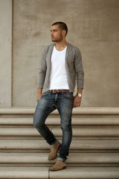 Spring / Summer - casual style - light gray cardigan + round neck white t-shirt + brown belt + distressed jeans + light brown or gray suede oxfords