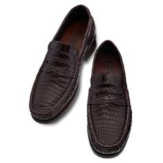 Exotic Leather Elevator Loafers - Upper in Baby Crocodile leather, insole and midsole in genuine leather, leather heel with special anti-slip rubber. Hand Made in Italy. elevator shoes, height increasing shoes, elevator shoes men