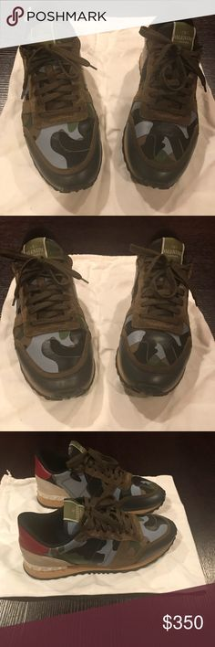 Valentino Men's Sneakers Valentino Men's Sneakers size 43 excellent condtion fairly maintained no grotesque abrasions just normal wear & tear from usage . No shoes boxes nor shoes bags included great pick up . Valentino Shoes Sneakers