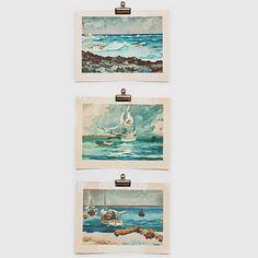 Winslow Homer Watercolor Beach Ocean Boat 3 Print Set by Tifanilyn, $60.00