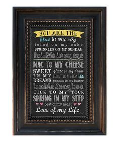 This 'You Are the Blue in My Sky' Framed Wall Art by Karen's Art & Frame is perfect! #zulilyfinds