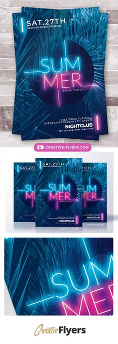 Eye-catching flyer Template ! If you liked this style, enjoy downloading this Photoshop Psd Template ! #summer #flyer #template #psd #photoshop #neon #party #light #palm #invitation #lounge #deep #bar #beach #event #creative #market #nightclub #club