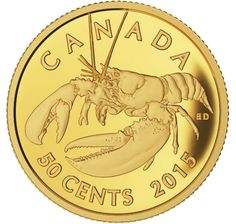 Canada 50 Cent Gold Coin 2014 Lobster Sea Creatures: Lobster The pride of Atlantic Canada, the lobster (Homarus americanus) has bec. Bullion Coins, Gold Bullion, Piece Euro, Gold And Silver Coins, Gold Krugerrand, Gold Coins For Sale, Canadian Coins, Coin Design, Mint Coins