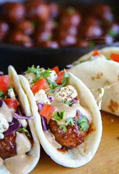 BBQ Meatball Street Tacos are made with a simple slow cooker bbq meatball recipe, topped with cabbage, goat cheese & the best burger sauce ever. These are everything you love in a burger AND tacos & so uniquely delicious. #beeffoodrecipes
