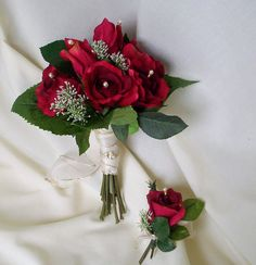 christmas+wedding+bouquets | Bridal Bouquet Red silk roses Ready Ship, winter bridal party ...