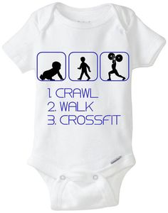 Funny Silhouette Baby Gift Onesie by LittleFroggySurfShop. Crossfit Baby