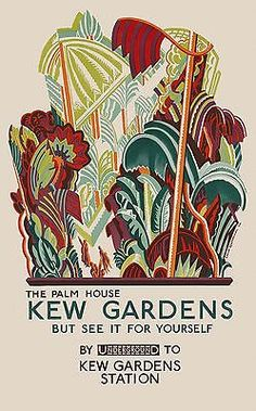 To Kew Gardens by London Underground 1926 vintage travl poster reprint