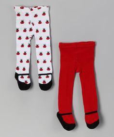 Love this Baby Essentials Red & White Ladybug Mary Jane Tights Set by Baby Essentials on #zulily! #zulilyfinds