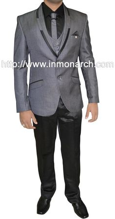 Grey color pure polyester fabric 6 pc mens tuxedo suit. Bottom as trouser. With this suit black pant is shown but if you want the same fabric trouser of which the coat or jacket is made then on request we can make for you.