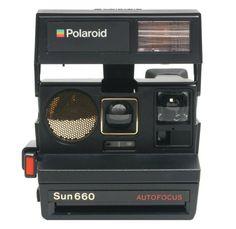 #Icons of Design: Polaroid Sun 660. Company: Polaroid. Date: 1981. more: http://www.polaroidstore.com/products/instant-cameras/refurbished-sun-660-instant-camera-black-prd2573.htm