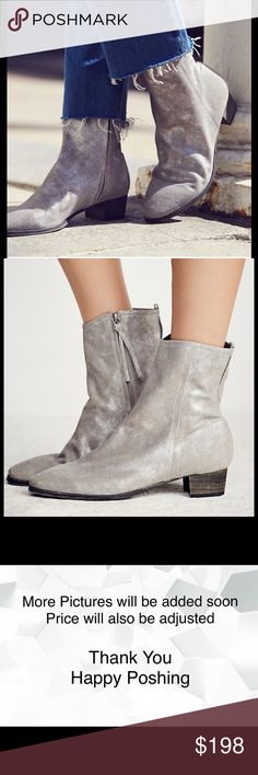 Free People London Calling Ankle Boot Size 7 NWT London Calling Ankle Boot Metallic Silver Size 7    Featured in super soft leather with distressed detailing these ankle boots are your next favorite pair! With a stacked heel and an inside zip closure for an easy on-off.  FP Collection  Modern and sartorial styles, artisan crafted from fine leathers and premium materials, FP Collection shoes are coveted for their signature cutting-edge aesthetic.  Tan = Leather Siler Metallic = Suede Made in…
