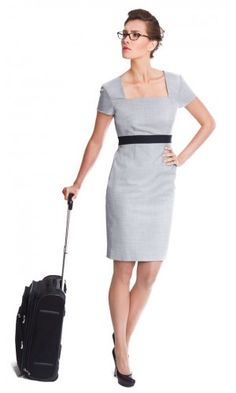 Women's light grey shift dress for work made from Super 140s pure wool | The Lindsay by NOOSHIN