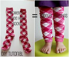 Knee socks => footless tights for toddler!