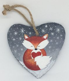 Fox Slate Heart Hanger - Gift of Love - Hand Painted - Decoration