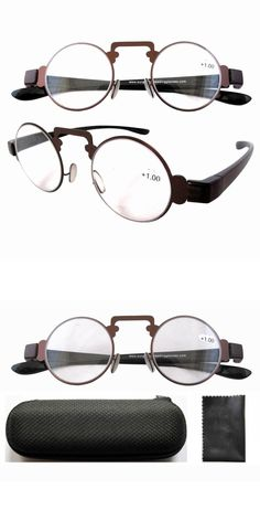 f21ceb4d84cb R11044 Brown Thin Metal Round Frame Plastic Arms Retro Reading Glasses  +1.00 1.25