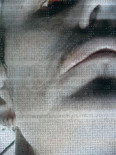 WORDSCREATUREWORDS 1 (detail) - 2014 (typewriter ink on creature picture portrait) - twitter.com/ragnoxxx #contemporaryart #artecontemporanea #conceptualart #visualart #arte #artecontemporaneo #artcontemporain #zeitgenössischekunst #photografy #kunst #artcollectors #art #contemporaryphotografy #artgallery #cosegiaviste #installation #artexhibition