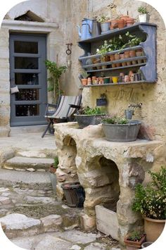 Patio- galvanized buckets for outdoor sinks. love the cement or rock stand they are in! Outdoor Sinks, Outdoor Rooms, Outdoor Gardens, Outdoor Living, Outdoor Decor, Dream Garden, Home And Garden, Garden Sink, Balcony Garden