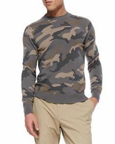 Valentino Camo Cashmere Crewneck Sweater & Stretch-Cotton Chino Pants - Neiman Marcus