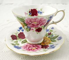 """Royal Albert Tea Cup and Saucer Random Harvest Series """"Somerset"""", Vintage Tea…"""