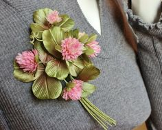 Silk corsage, fabric flower brooch, lucky shamrock, shamrock jewelry, irish jewelry, brooch spring