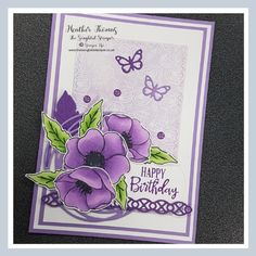 Painted Poppies meets Nature's Thoughts… – The Songbird Stamper - Painted Poppies meets Nature's Thoughts… – The Songbird Stamper Painted Poppies meets Nature's Thoughts… – The Songbird Stamper Butterfly Cards, Flower Cards, Card Making Inspiration, Making Ideas, Color Uva, Purple Poppies, Yellow Roses, Purple Flowers, Pink Roses