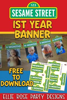 These free Sesame street year photo banner will add that extra special touch to your Sesame Street party. Baby Boy 1st Birthday Party, Toy Story Birthday, Birthday Ideas, Sesame Street Party, Sesame Street Birthday, Sesame Street Centerpiece, Mickey Mouse Parties, Minnie Mouse, Happy 1st Birthdays