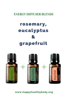 If you're feeling truly exhausted, this blend is what you need. Rosemary can replenish, eucalyptus works as an expectorant and helps cleanse your body of toxins and harmful microorganisms that can make you feel sick, and grapefruit helps to fight fatigue #energybooster #diffuserblend #naturalsolutions