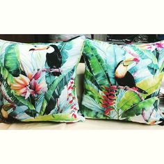 These pillows just make us want to take a vacation! 🌴☀️🌺 Tropical Pattern Cackle Multi made into beautiful pillows! 😍❤️ So Walfabulous!