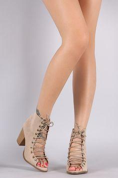 5efdf66d4aa Corset Lace Up Chunky Heel Booties Flats