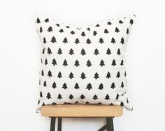 Nordic style home decor pillows with modern woodland tree print