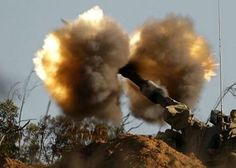 An Israeli mobile artillery unit fires a shell towards Gaza from its position outside the central Gaza Strip. Arab News, Gaza Strip, Big Picture, Armed Forces, Troops, Egypt, The Outsiders, Military, The Unit