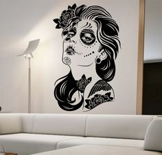Day of the Dead Wall Decal ROSES GIRL Vinyl Sticker Art Decor Bedroom Design Mural interior design sugar skull living room tattoo roses
