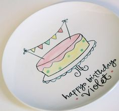 personalized banner cake birthday plate!?! adore!