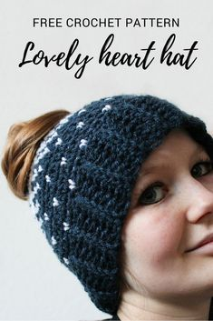 Lovely heart bun hat – free crochet bun hat pattern Lovely Heart (bun) Hat – a free crochet pattern on … Crochet Beanie Pattern, Crochet Cap, Crochet Gifts, Easy Crochet, Free Crochet, Crochet Scarves, Crochet Designs, Crochet Patterns, Hat Patterns
