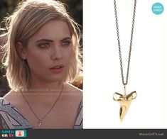 Hanna's shark tooth necklace on Pretty Little Liars.  Outfit Details: http://wornontv.net/49763/ #PLL