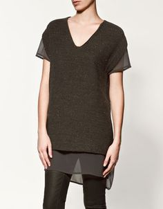 T-SHIRT WITH KNITTED LINING. so dangerous now that i can shop zara online..