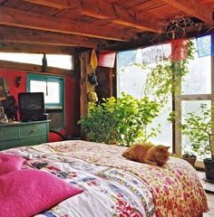 Boho bedroom: colours and wood