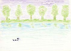 LOW WAY  .  .  .  #low #way #lake #tree #ducks #birds #illustration #drawing #sketch  .  #일러스트 #드로잉 #스케치