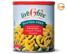 Just in time for green bean casserole season, ALDI is selling gluten-free fried onions under their liveGfree brand. Homemade Green Bean Casserole, Healthy Green Bean Casserole, Carbs In Green Beans, Creamy Green Beans, Greenbean Casserole Recipe, Gluten Free Thanksgiving, French Fried Onions, Green Bean Salads, Bean Salad Recipes