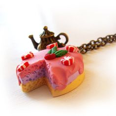 Christmas Cake Necklace in Polymer Clay Miniature