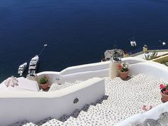 stairs in Oia, on the island of Santorini, Greece