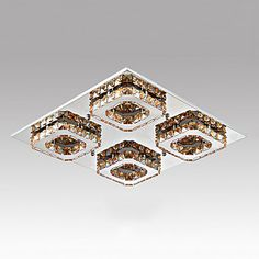 LED Crystal Flush Mount, 4 Lights, Contemporary Amber Electroplating Stainless Steel