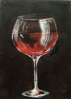 Red Wine Glass - Original 5 x 7 Acrylic Painting on Canvas via Etsy