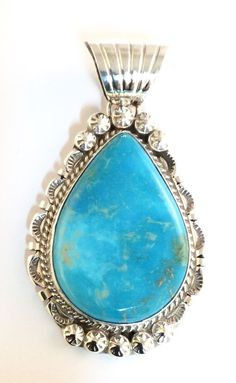 Native American Sterling Silver Navajo Indian Kingman Turquoise Pendant. Signed.