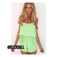 Lime Romper Lime romper with tassel detail and adjustable straps. Made of a cotton rayon blend. Brand new without tags. Size small Pants Jumpsuits & Rompers