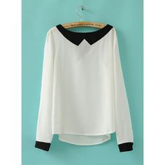 Retro Fake Collar Chiffon Shirt White$39.00 ($39) ❤ liked on Polyvore