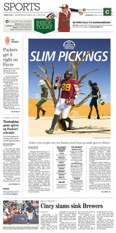 News design: April 22 Green Bay sports cover illustration.