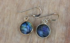 Gold Gem Earrings  Labradorite by diamentdesigns on Etsy
