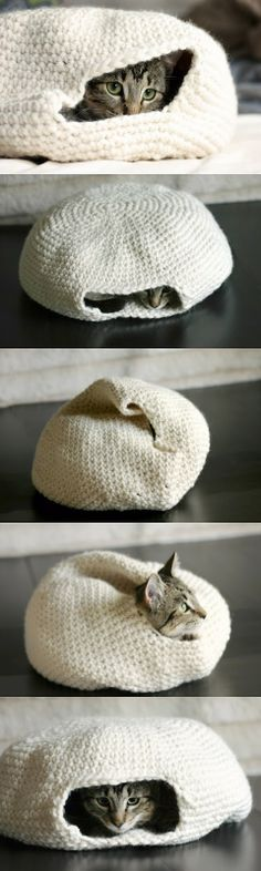 Crochet cat bed. Great idea!